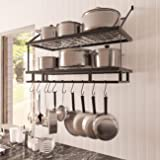 KES 30-Inch Kitchen Pot Rack - Mounted Hanging Rack for Kitchen Storage and Organization- Matte Black 2-Tier Wall Shelf for P