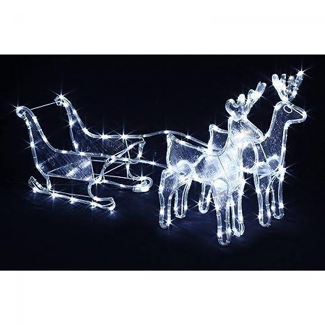 Traineau lumineux avec ses 2 rennes - Décoration de Noël: Amazon.fr ...