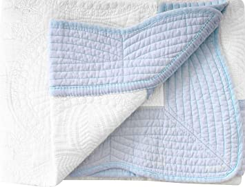 Toddler Blankets Lightweight Embossed Baby Quilt White Blue