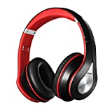 Over Ear Bluetooth Headphones, Mpow Foldable Stereo Wireless Earphone, Noise Cancelling, Ergonomic Designed with Soft Earmuffs, Built-in Mic for Mobile Phone PC Laptop (13 Hours Playing Time, Carrying Bag Included, Black & Red)