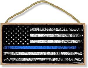 Honey Dew Gifts Man Cave Bar Patriotic Signs, Thin Blue Line American Flag 5 inch by 10 inch Hanging Wall Art, Decorative Wood Sign, American Flag Wall Decor