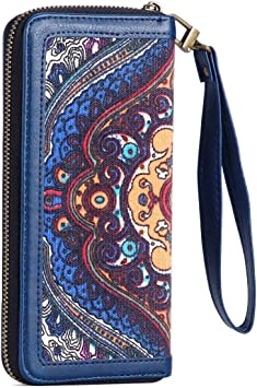Purple Paisley Womens RFID Blocking Zip Around Wallet Genuine Leather Clutch Long Card Holder Organizer Wallets Large Travel Purse