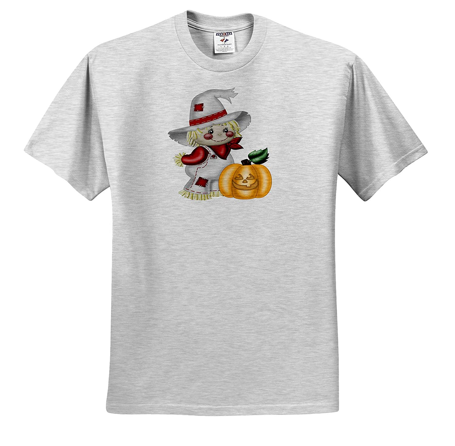 3dRose Anne Marie Baugh ts/_317966 Adult T-Shirt XL Illustrations Cute Smiling Scarecrow with A Pumpkin Illustration