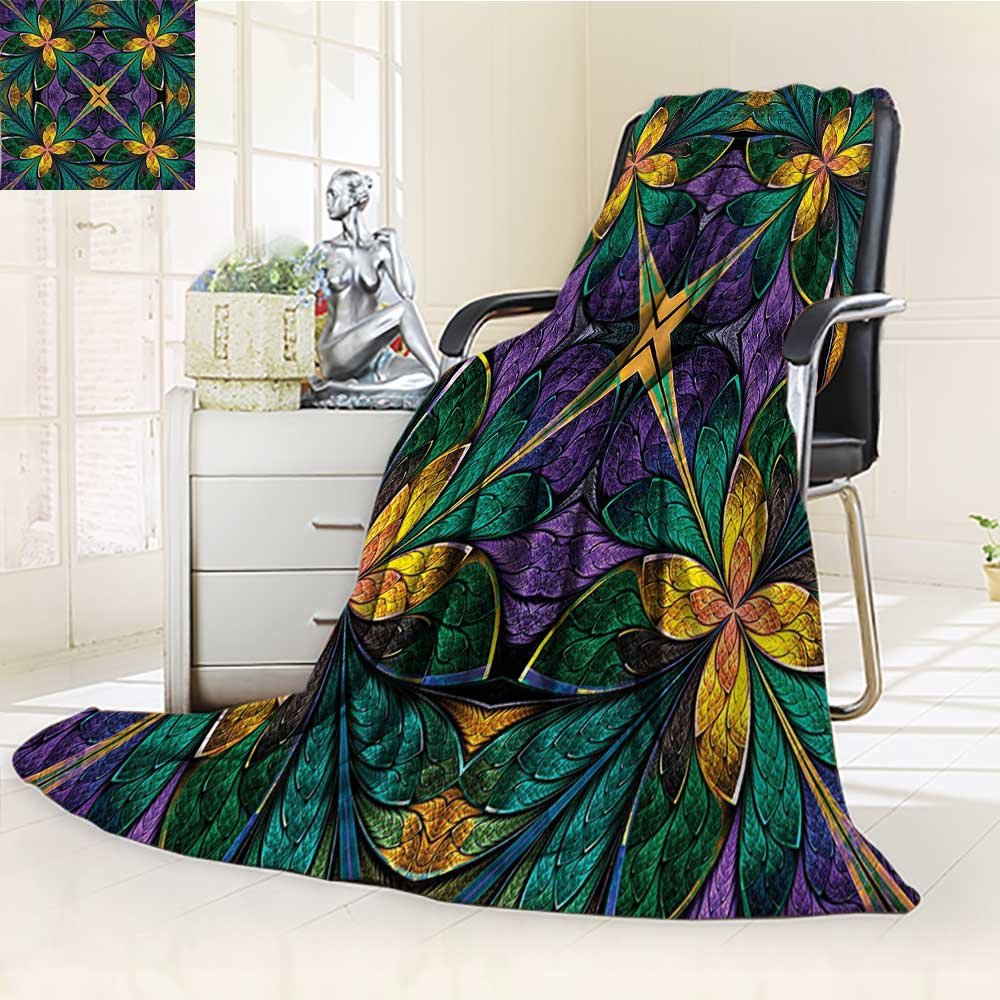 Warm Microfiber All Season Blanket Ornate Symmetric Stained Glass Window Style Embellished Green Print Artwork Image,Multicolor