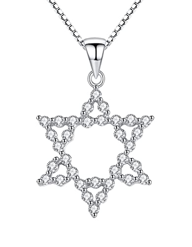 Sterling Silver Star of David with Cubic Zirconia Pendant Necklace for Women and Girls, 46cm Box Chain - SC229n1