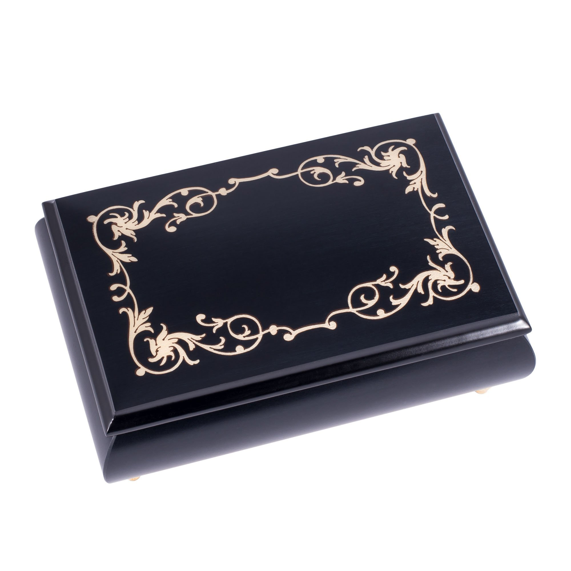 Pearl Filigree Italian Handmade Inlaid Black Hardwood Musical Jewelry Box - Plays Tune Clair de Lune