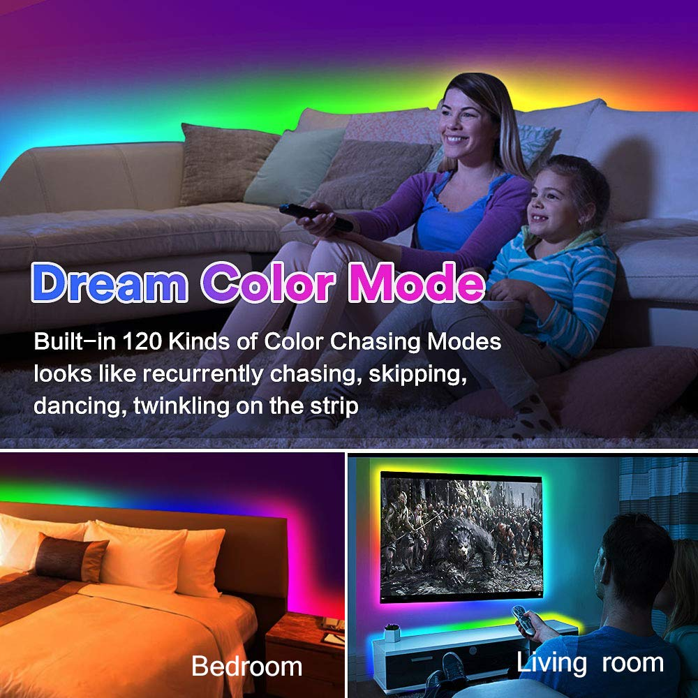LED Strip Lights Built-in IC with App, 32.8ft/10m LED Chasing Light, 12V 5050 RGB Waterproof 300Leds Flexible-Lighting, Dream Color Changing Rope Lights Kit with Adhesive for Home Kitchen by Sanwo (Image #3)
