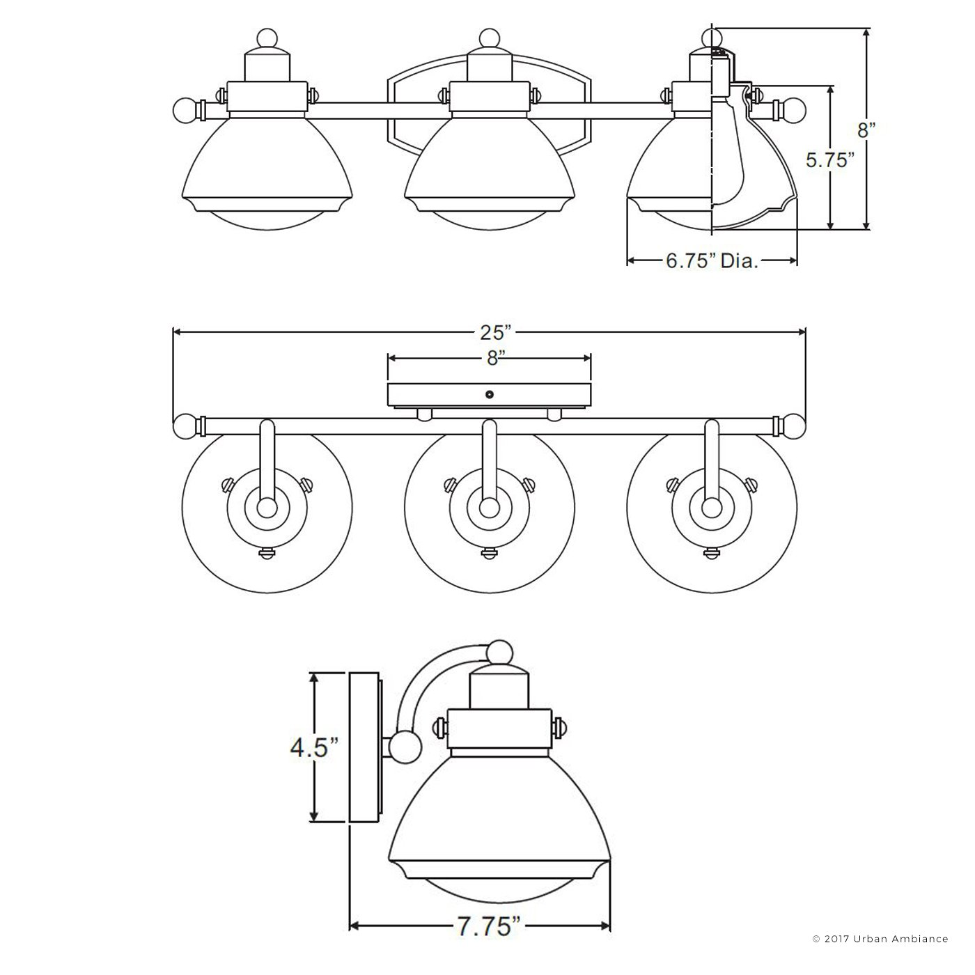 Luxury Transitional Bathroom Vanity Light, Medium Size: 8''H x 25''W, with Rustic Style Elements, Oil Rubbed Parisian Bronze Finish and Seeded Schoolhouse Glass, UQL2652 by Urban Ambiance by Urban Ambiance (Image #7)