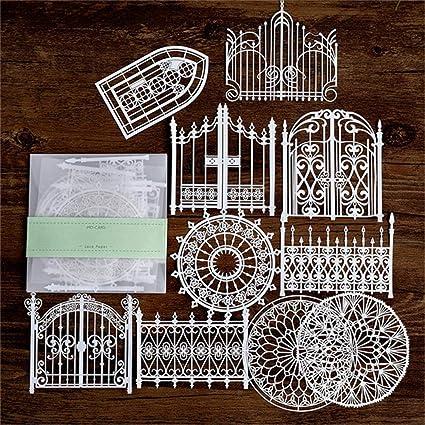 1 CTOBB Metall Stanzformen Spitze Papier Hohl Geschirr Dekoration Verpackung Muster Runde Fenster Platz T/ür Blume Stirbt Scrapbooking
