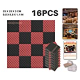 Ace Punch 16 Pack 2 Colors BLACK AND RED Egg Crate Acoustic Foam Panel DIY Design Studio Soundproofing Wall Tiles Sound Insulation with Free Mounting Tabs 25 x 25 x 3 cm AP1052
