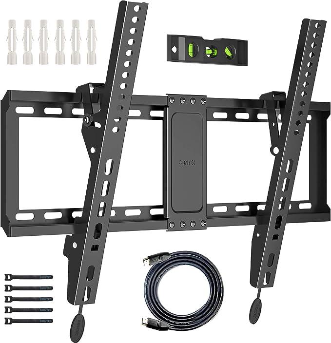 BONTEC Soporte de Pared para TV de 37-70 Pulgadas de LED LCD Plasma Soporte Inclinable de Montaje en Pared VESA 600x400mm Carga 60kg el Nivel de Burbuja Cables HDMI de 1.8m y