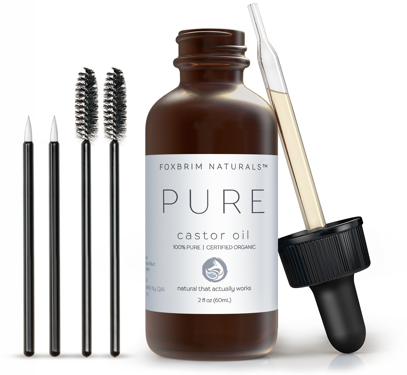 Organic Castor Oil - 2oz - 100% Pure - Cold Pressed - USDA Certified - Hexane Free - For Hair, Skin, Eyelashes, Eyebrows & Nails With Treatment Applicator Kit - by Foxbrim