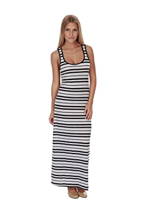 Hollywood Star Fashion Women's Striped Long Full Length Racerback ...