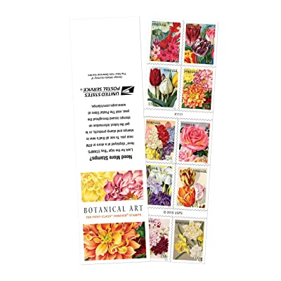 10 Botanical Art USPS Forever First Class Postage Stamps Beautiful Flower Bloom: Office Products