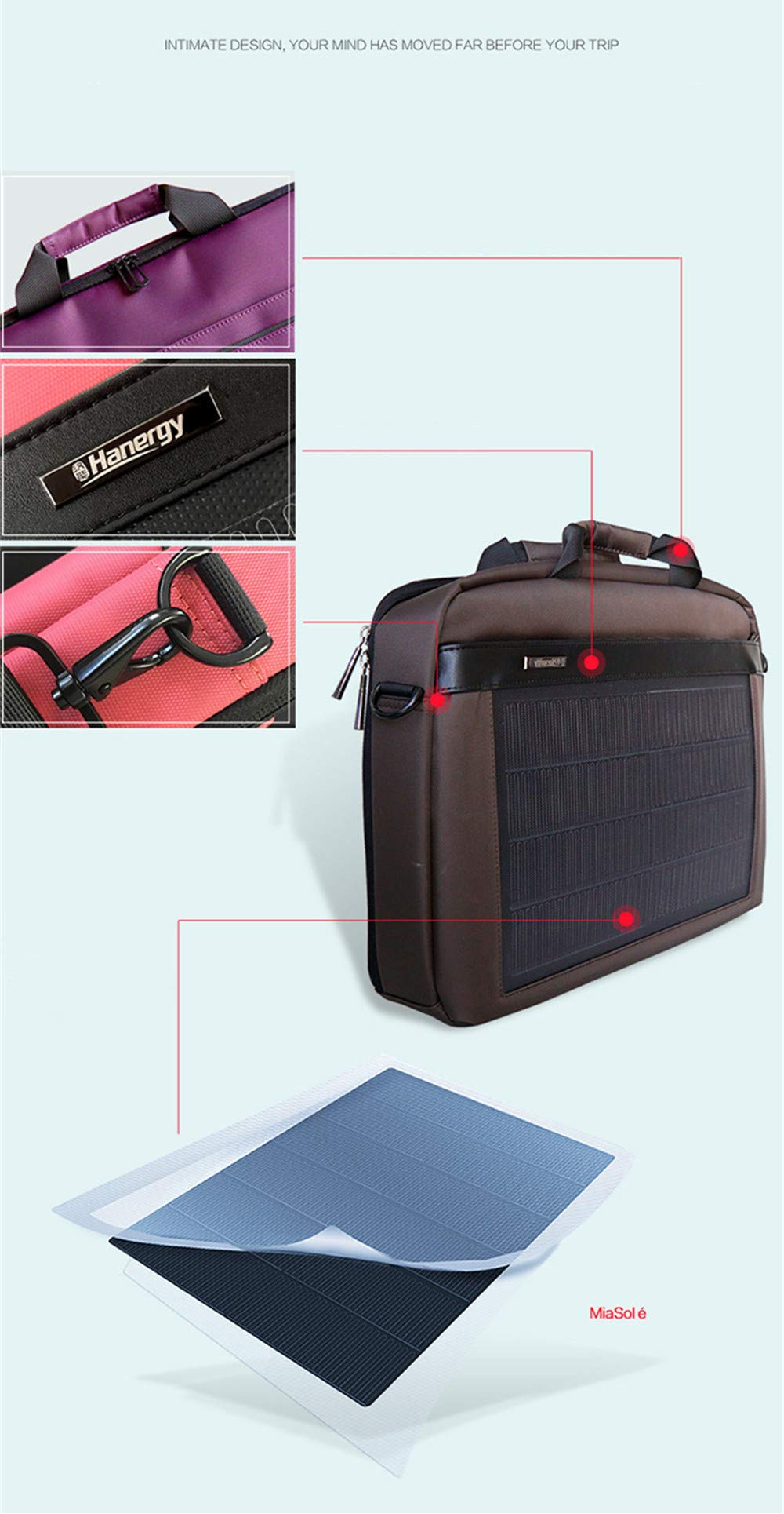 HANERGY Thin Film Solar Powered 8W Laptop Computer Case Electronics Business Shoulder Bag Notebook MacBook iPad Protective Case with Handle & Accessory Pocket (Black) by HANERGY (Image #1)