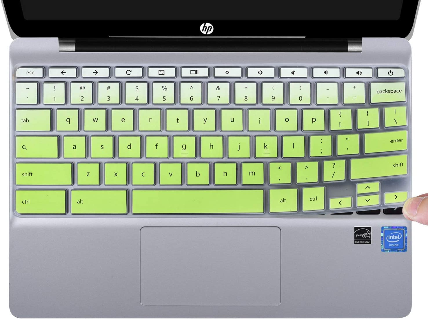 "CaseBuy Keyboard Cover Compatible HP Chromebook 11 x360 11.6"" & HP Chromebook 11 G2 / G3 / G4 / G5 / G6 EE / G7 EE 11.6 Inch, HP Chromebook 11 Accessories, Ombre Green"