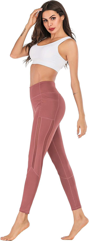 Women Cotton Voluptuous Skinny Yoga Pants Anti-Side Mobile Phone Pocket Exercise Running Four-Way Stretching Leggings