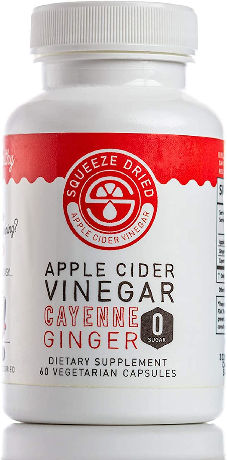 Squeeze Dried Apple Cider Vinegar Pills with Ginger and Cayenne, Detox Capsules, Vegan, Gluten-Free, Immunity-Boosting Probiotic Supplement, 60 Capsules (Pack of 1)