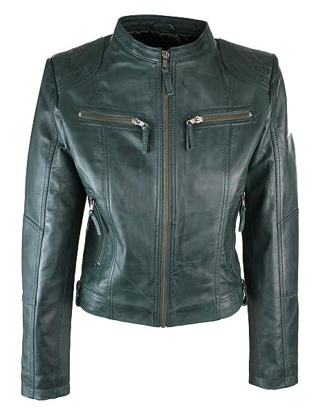 Vera Pelle classico stile da moto nero Biker Wear Moda Donna Giacca