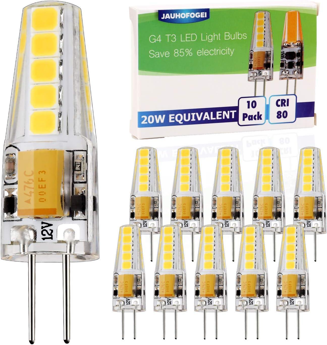 JAUHOFOGEI 10x 2W Mini Bombilla LED G4, 12-24V AC DC, Equivalente a 20W Halógena, Blanco frío 6000K, No Regulable, Lámpara de techo de muebles de foco empotrable