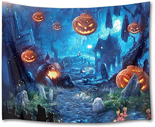 HVEST Halloween Tapestry Wall Hanging Ghost Pumpkins and Witch in Graveyard Wall Blanket for Bedroom Living Room Dorm Decor, 92.5W X 70.9H Inches Scary Night