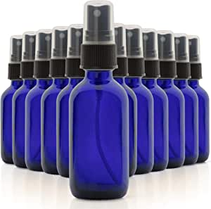 1790 Blue Glass Essential Oil Bottles, 2 oz Small Glass Bottles, Glass Bottles for Essential Oils- BPA Free - Toxin Free - Mini Spray Bottle(12 Value Pack)