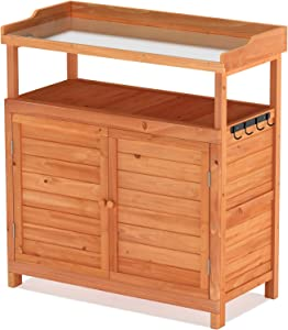 GDLF Outdoor Garden Patio Solid Wood Storage Cabinet Waterproof Tool Shed with 2 Doors and Shelves Potting Benches Outdoor Bar Work Station Table with Hooks