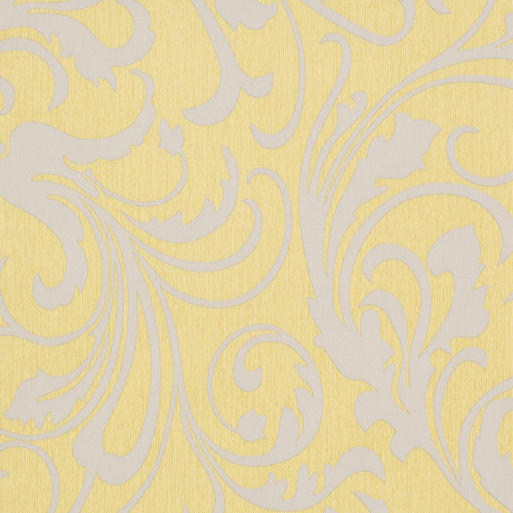 Mustard Yellow Grey Floral Wallpaper For Walls Double Roll