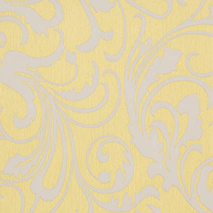 Mustard Yellow/Grey Floral Wallpaper For Walls   Double Roll   Adore  Splashy Corsage   By Romosa Wallcoverings     Amazon.com
