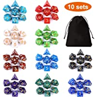 DND Dice Set (70 Pieces) Jugaad Life Polyhedral Dice Set for Dungeons and Dragons DND RPG MTG Table Games D4 D6 D8 D10 D% D12 D20 with 1 Black Bags, 10 Colors