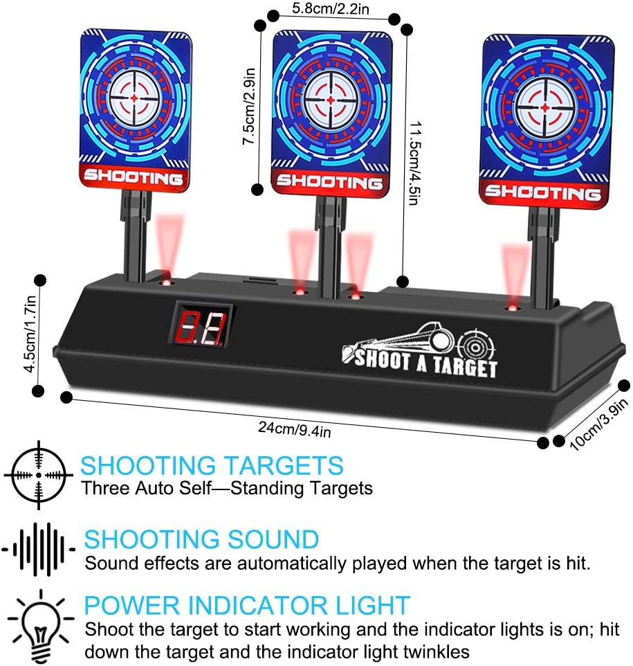 Efectos Inteligentes de Sonido y Luz para Nerf Juguete Pistolas N-Strike Elite//Mega//Rival Serie Objetivo para Nerf Objetivo Digital Electr/ónico para Pistolas Nerf con Restablecimiento Autom/ático
