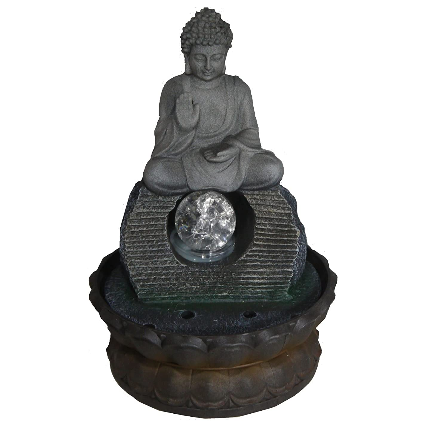Chico Indoor Buddha Table Top Waterfall Water Feature & Coloured LED Lighting