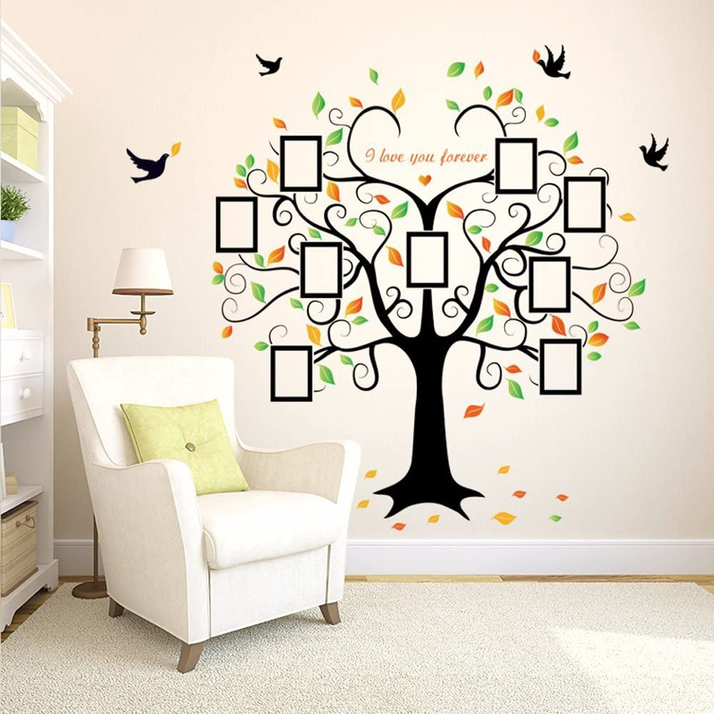 A ERIUAES Frame Tree Vinyl Wall Sticker Picture Frame Wall Family Room Art Decoration