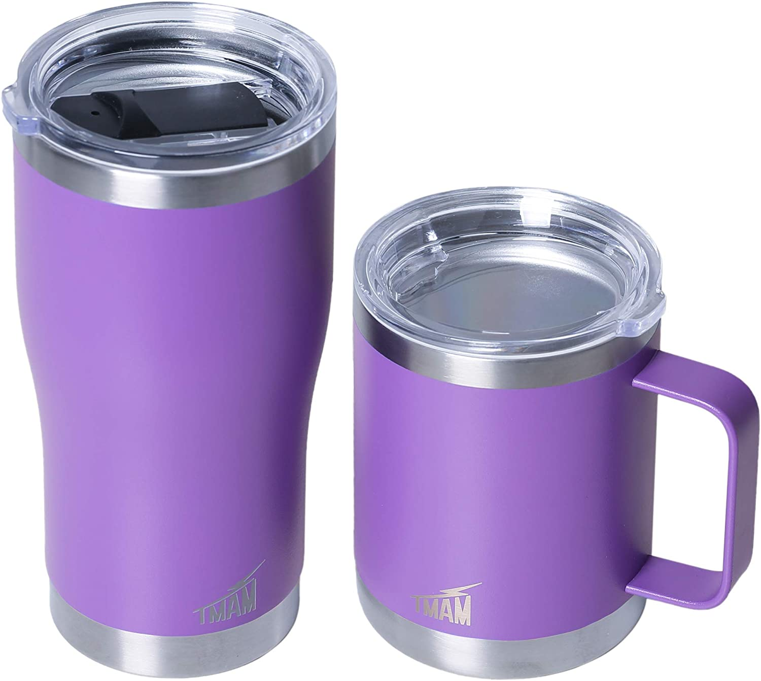 Coffee Mug Tumbler Set with Lid – 20 oz and 12 oz Stainless Steel Double Wall Vacuum Insulated Travel and Camping Cups Sliding and Clear Lid 2 Spare Gaskets Ice Drink and Hot Beverage Gift Box
