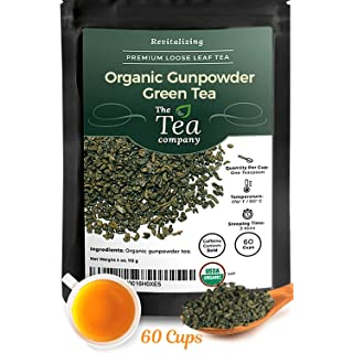 Organic Gunpowder Green Tea Loose Leaf Rolled Into Pellets by The Tea Company 4oz