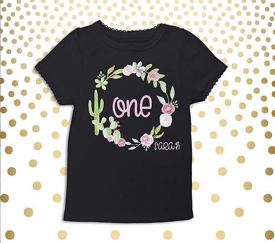2835f20d3a Amazon.com: Baby Girls 1st Birthday Shirt Succulent 1st Birthday Shirt  Girls 1st Birthday Shirt Cactus One year old Shirt 1st Birthday Party Shirt:  Handmade