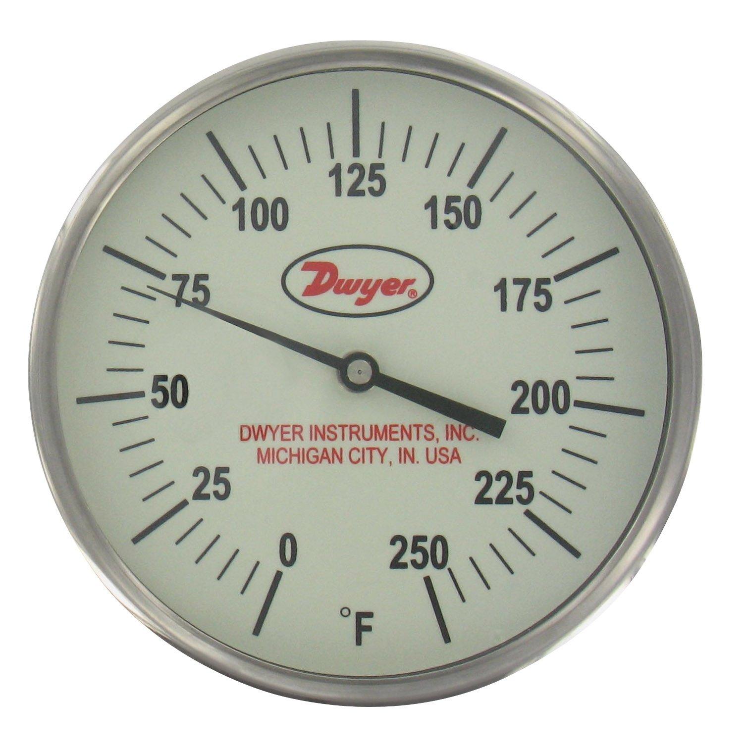 Dwyer® Glow-in-the-Dark Bimetal Thermometer, GBTB52561, 50-300°F, 2-1/2'' Stem, Back Connection