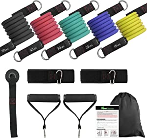 NGreen Exercise Bands with Handles Set - 150 LBS Anti-Snap Resistance Bands with Handles, Door Anchor and Ankle Straps, Perfect Fitness Tubes for Muscle, Arms, Shoulder, Legs, Chest Workout Training