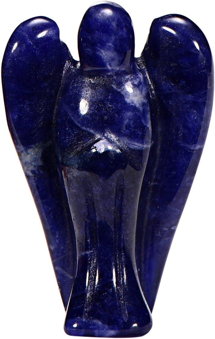 Morella piedras preciosas gema Sodalita africana Ángel de la Guarda protector de 3,5 cm en una bolsa de terciopelo