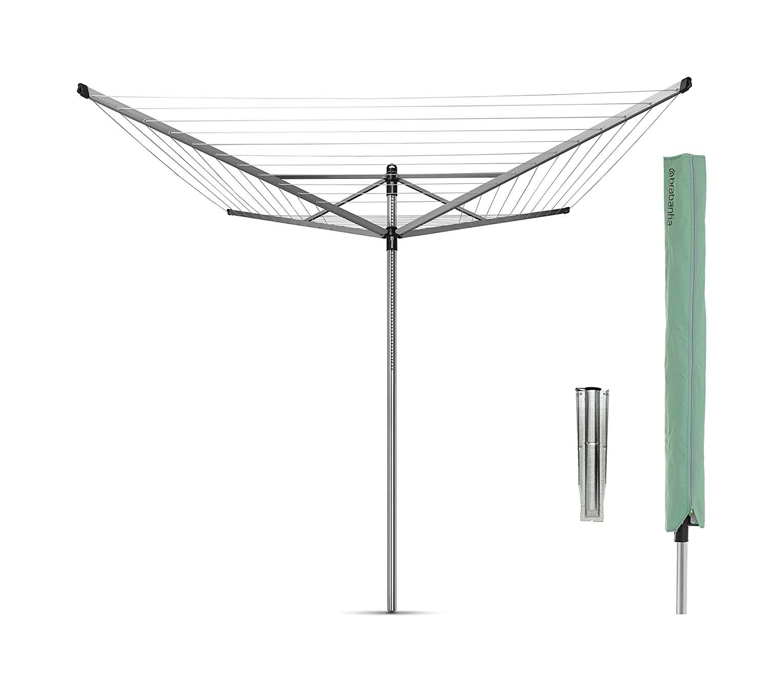 Silver Brabantia Lift-O-Matic Rotary Airer Washing Line with 45 mm Metal Soil Spear 40 m
