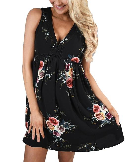 Auxo Halter Mujer Vestidos Cortos Elegante Faldas V Cuello Hollow Blusas Largas Verano Negro ES 42