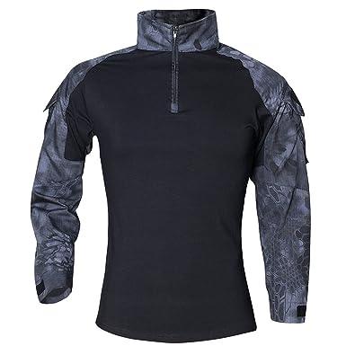 Hombres Airsoft Militar Táctico Camisa Largo Manga Camuflaje Combate BDU Camo Camisetas con Cremallera Pitón Negro x-Large: Amazon.es: Ropa y accesorios