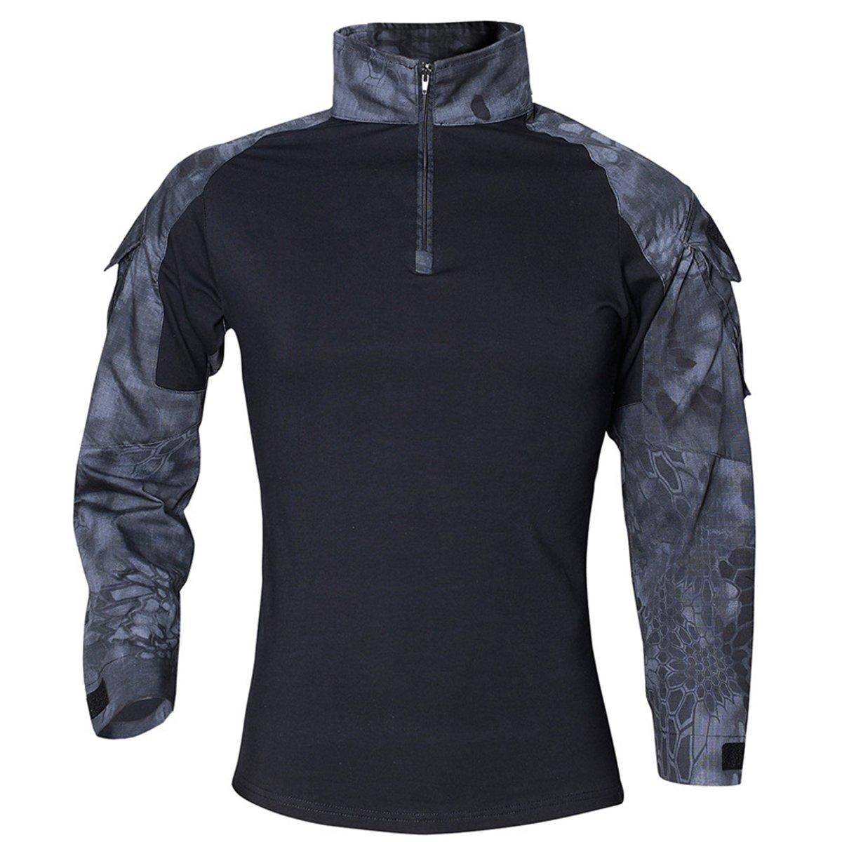 QCHENG Men's Tactical Airsoft Shirt Military Tactical BDU Combat T-Shirt Assault Long Sleeve Slim Fit Outdoor Army Multicam (Black Python X-Small)