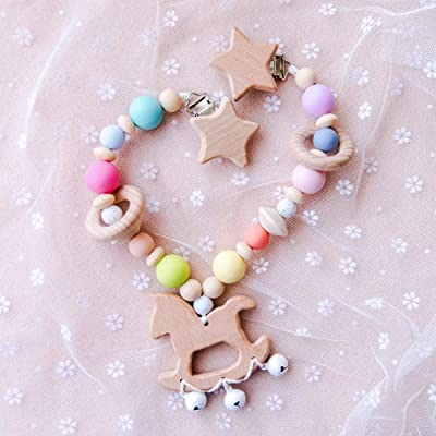 Soft Silicone Colored Beads Baby Stroller Toy Wooden Trojan Pendant with Bells Sensory Activity Teether Rattle Cart Chain Star Head Metal Clip Pram String Links Clip On Pram for Infants: Toys & Games