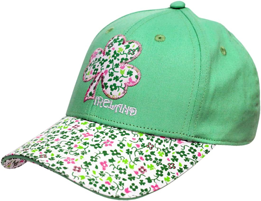 Traditional Craft Apple Green Ireland Floral Print Shamrock Kids Baseball Cap