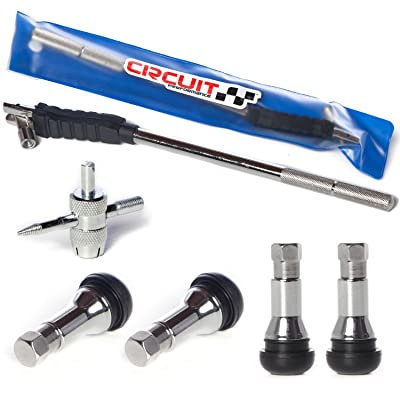 Circuit Performance Valve Stem Puller Installer Tool + 4 TR413 Chrome Rubber Valve Stems + 4 Way Valve Core Remover Full Kit: Automotive
