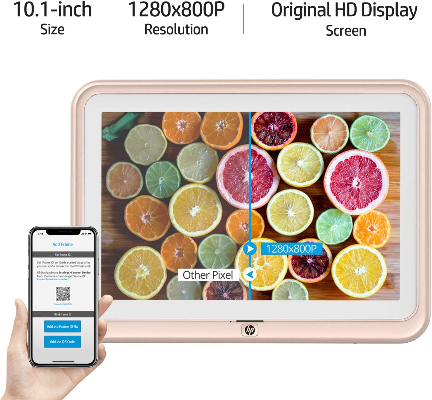 Calendar with Built-in Speakers 8GB Internal Storage Music Golden Support Photo iPhone /& Android App 1280x800 HD IPS Display Digital Picture Frame HP 10.1 inch WiFi Photo Frame