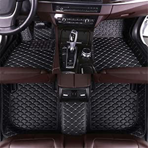 Muchkey car Floor Mats fit for Honda Accord 7th Gen 2004-2007 Full Coverage All Weather Protection Non-Slip Leather Floor Liners Black-Beige