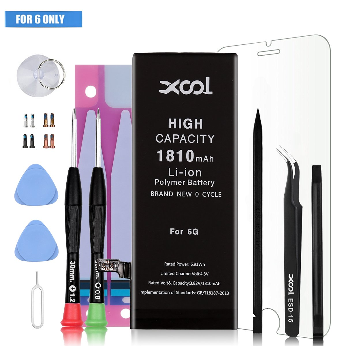 Battery Model IP 6 0 Cycle for IP 6 Battery Replacement with Complete Repair Tool Kits, Instruction, Adhesive Strip and Screen Protector High Capacity Li-ion Battery with 24 Month Warranty by XOOL (Image #1)