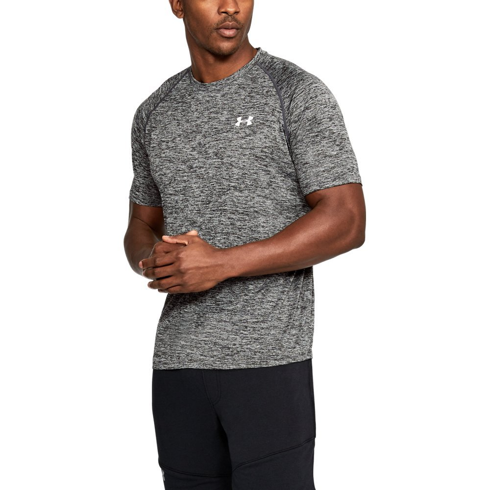 Under Armour Men's Tech Short Sleeve T-Shirt, Black /White, Medium by Under Armour
